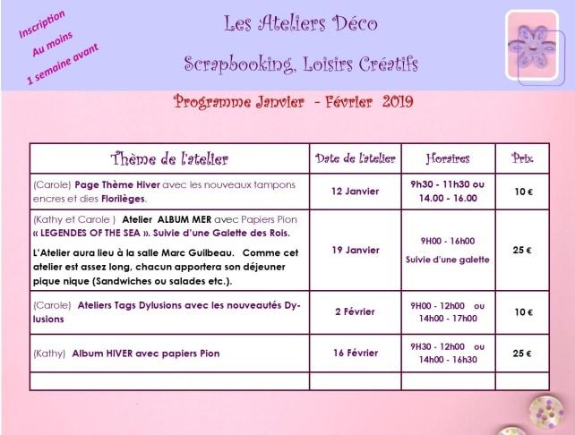 programme 2019 JAN - FEVRIER