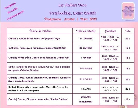 programme janvier à mars 2020